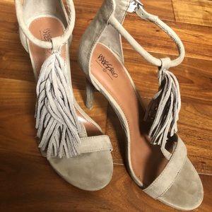 Fringe t-strap sandal